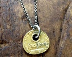 Rockford Illinois Brass Key Tag Necklace with Semiprecious Stone
