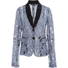 Alexis     Aline Lace Suit Jacket (€420) ❤ liked on Polyvore featuring outerwear, jackets, blue, lace jacket, long sleeve lace jacket, blue lace jacket, blue jackets and lapel jacket