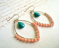 Peach Coral Turquoise Earrings Hammered Gold by BellaAnelaJewelry, $42.00