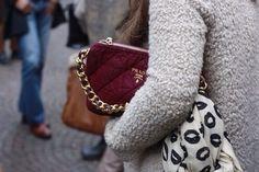 -Grey coat & colorful bag-