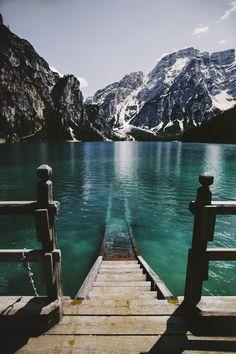 Pragser Wildsee Lake in Prags, Italy