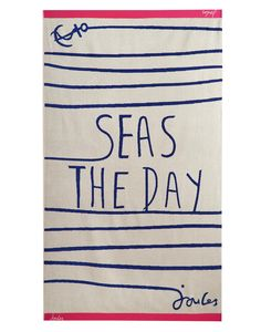 Joules Beach Towel, Creme Sea. Stake your claim to your patch of sand in style with a bright and beautiful Joules beach towel.