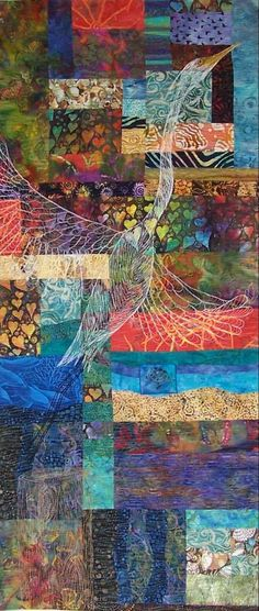 I love the quilted bird.  Fiber Art Quilts-Landscape