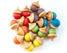 Rainbow Sorting Acorns - Waldorf Preschool Toys - Montessori Wooden Toy - Natural Toy - Counting Colors on Etsy Toddler Gifts, Toddler Toys, Gifts For Kids, Waldorf Preschool, Preschool Toys, Montessori Toddler, Montessori Toys, Montessori Color, Felt Stories