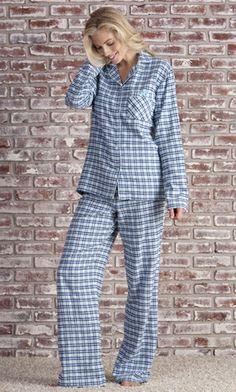 Flannel PJ Set (Blue Plaid) | Tall Women's Clothes, Ladies Clothing & Apparel by Long Elegant Legs