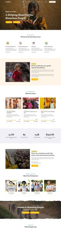 Humanity - Charity & Nonprofit Foundation is a clean HTML Charity Template which fits for all kind of Charity, Fundraising, NonProfit, NGO, Church and other non-profit charity projects website since it is a great Template that will make a model and professional website for all your needs.#landingpageexample #charitywebsite #nonprofitwebsite Landing Page Examples, Best Landing Pages, Landing Page Design, Web Design, Website Design Layout, Web Layout, Graphic Design, Charity Foundation, Fundraising Websites