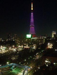 桜の開花宣言にあわせて、東京タワーもほんのりさくら色。