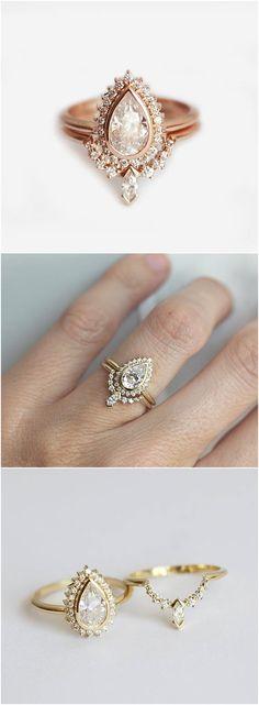 Pear Shape Diamond Ring With Diamond Crown Band, Halo Pear Diamond Ring with Matching Curved Diamond Ring, Minimalvs Jewelry