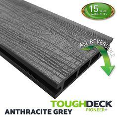 Anthracite Grey Wood Grain WPC Decking Board - Pioneer+ Decking Planks, Wpc Decking, Hardwood Decking, Composite Decking, Decking Boards, Grey Wood, Grey Stone, Pioneer Decks, Decking Supplies
