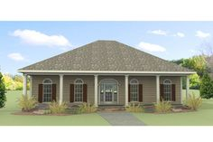 Southern Style House Plan - 3 Beds 2 Baths 1640 Sq/Ft Plan #44-168 Exterior - Front Elevation - Houseplans.com