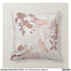 Antique Paint Rose Gold Foil Metallic Asian Floral Throw Pillow
