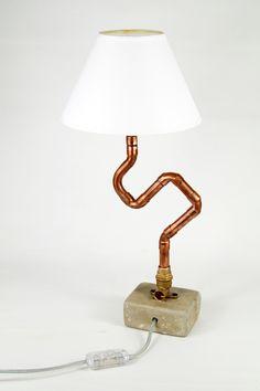 Φωτιστικό Boma Χάλκινα υδραυλικά εξαρτήματα Βάση απο τσιμέντο Ντουί για λάμπα Ε14 Διαστάσεις 15x8cm, ύψος 35cm, 1Kg