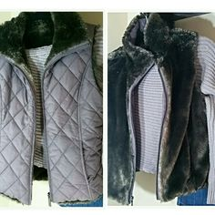 REVERSIBLE VEST by WEATHERPROOF COMPANY REALLY CUTE!  Size small. Shell 100% poloyester. Lining faux fur. Insulation 100% poloyester. Color taupe.  EVERYTHINGS FOR SALE -skirt, boots, sweater,and vest. weatherproof garment company Jackets & Coats Vests