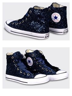 Sparkly Navy Blue Glitter & Crystals Converse All Stars Shoes wedding bride Sparkly Navy Blue Glitter & Kristalle Converse All Stars Schuhe Hochzeit Braut Converse All Star, Converse Bleu, All Star Shoes, Sparkly Converse, Bride Converse, Custom Converse, Converse Shoes High Top, Converse Wedding Shoes, Shoes Heels Wedges
