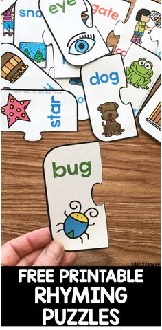 Rhyming- In this activity the children will be matching the correct puzzle pieces which written on them are rhyming words, only the correct rhyming words fit together to make a piece. Rhyming activities teaches the children about the sound of language. Rhyming Kindergarten, Rhyming Activities, Free Preschool, Preschool Printables, Kindergarten Activities, Free Printables, Preschool Puzzles, Preschool Workbooks, Preschool Schedule