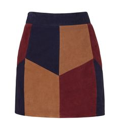 Rental LAMARQUE Retro Suede Patchwork Skirt (723.525 IDR) ❤ liked on Polyvore featuring skirts, mini skirts, dresses, suede skirt, suede mini skirt, brown skirt, colorblock skirts and retro skirts