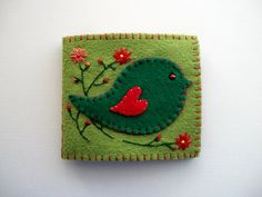 Green Needle Case Felt Organizer with Folk Art Bird Handsewn. $22.00, via Etsy.