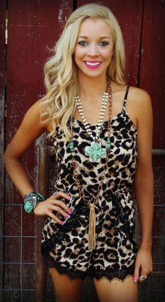 bd6fbf10cf80 Would be super cute with some tall black boots Cheyenne Leopard Romper - The  Lace Cactus