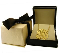 Monogram necklace  Personalized  1 inch in by magichandjewelry, $95.00