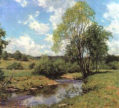 """Green Idleness,"" Willard Metcalf, 1911, oil on canvas, 26 1/4 x 29 1/4"