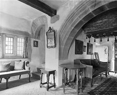 Arts & Crafts houses -- A corner in the gallery at Lindisfarne Castle. The 16th century castle was remodelled for Edward Hudson in 1902-3 by Sir Edwin Lutyens.