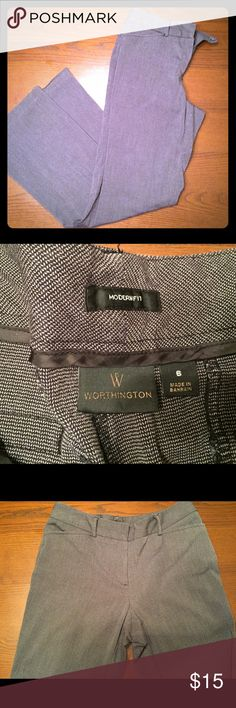 Worthington grey dress slacks Grey hatch texture dress slacks. Size 8. Great condition, except the bottom hem on the left leg has fallen. Could be easily pinned back up, or the other side lowered for more length. They do not fit me anymore. Otherwise perfect condition. One of my favorite pairs until they stopped fitting. Worthington Pants Trousers