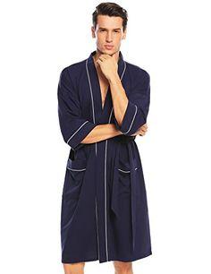 7a0f57b9f9 Ekouaer Mens Robes 34 Sleeve Bathrobe Comfort Sleepwear Kimono Robe Men s  Robes
