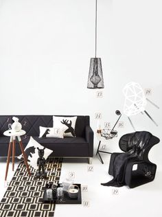 Gus* Modern | Make a statement by pairing the dark with the light. Western Living Magazine gives us some good options for creating drama with a bold, 80's inspired style. We spy our Thatcher Sofa and our Graphic Pillows. Good options for bringing in the bold! | Thatcher Sofa - http://www.gusmodern.com/products1/sofas/thatcher-sofa/thatcher-sofa.shtml | Graphic Pillows - http://www.gusmodern.com/products1/accessories/graphic-pillows/graphic-pillows.shtml