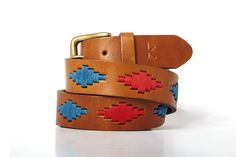 Men leather belts from Argentina / Bleu - Rouge
