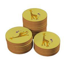 Yellow Funny Cartoon Giraffe Roller Skating Poker Chips $4.45 #poker #gifts