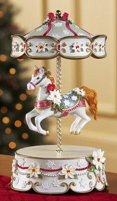 Victorian Pony Horse Holiday Carousel Music Box