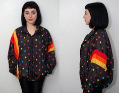 vintage SLOUCHY WINDBREAKER L black 80s by GhostVintageClothing
