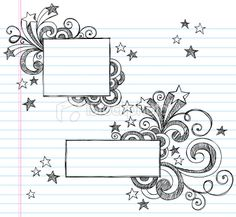 Illustration of Hand-Drawn Butterfly Sketchy Notebook Doodle Design Elements with Swirls and Flowers vector art, clipart and stock vectors. Doodles Zentangles, Zentangle Patterns, Doodle Sketch, Doodle Drawings, Zen Doodle, Doodle Art, Hand Drawn Border, Notebook Doodles, Notebook Art
