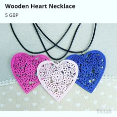 Wooden heart pendant necklaces only available on line at www.hippychickcreations.tictail.com