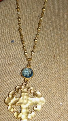 Sophia with Gemstones Necklace - Any gemstone available and also available in gold or silver. The nugget chain is made of satin Hamilton gold accent with the beautiful hand carved Sophia. $64.00