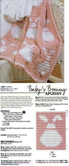 38 ideas crochet baby bunny blanket for 2019 Filet Crochet, Crochet Stitches, Knit Crochet, Crochet Rabbit, Crochet Toys, Baby Afghans, Knitted Baby Blankets, Baby Blanket Crochet, Afghan Crochet