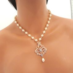 Rose Gold Bridal Necklace Bridal pearl necklace by treasures570, $85.00