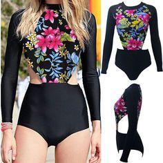 Women's Red Floral Long Sleeve Swimwear One-Piece Monokini Bikini Suit Swimsuit #Unbranded #Monokini