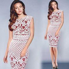 2017 Summer Women White Lace Dresses Bodycon Floral Crochet Lace Long sleeve Midi Elegant Sheath Pencil Party Dresses