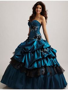Blue Ball Gown Gothic Wedding Dress. OMG!!! I am in love with this! SO me! My family would disinherit me if i chose this one lol