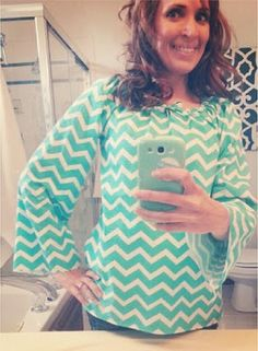 How to make an adult woman's Peasant Shirt in Chevron, with those super cute Bell Sleeves - - simple project for just learning to sew. This could be made in any color and would not HAVE to be in Chevron, although it is adorable in Chevron. Diy Clothing, Sewing Clothes, Clothing Patterns, Sewing Patterns, Shirts & Tops, Sewing Hacks, Sewing Projects, Sewing Ideas, Peasant Tops