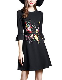 075a01fa6f5 DanMunier Women s 3 4 Solid Embroidery Casual Party A-Line Dress  7710 (S