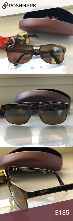 Maui Jim Hang 10 Sunglasses Maui Jim Hang 10 Sunglasses in bronze with brown lens. Pristine condition, new.  Comes with soft bag and hard MJ case.  Style is MJ-296-20A. Polarized with 100% UVA/UVB protection. Accessories Sunglasses