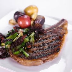 Grilled Ribeye with Spring Onions Morels and Port from The Chew. I would use regular mushrooms.