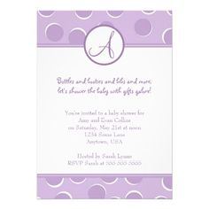 Purple Polka Dot Monogram Baby Shower Invitation