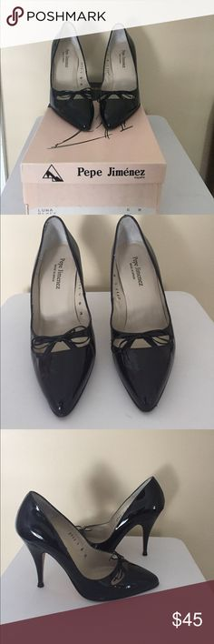 "Pepe Jimenez Shoes-Luna Pepe Jimenez Shoes-Luna. Size 6m. 4"" heel. Black patent leather. Leather bottoms. Cute cutouts and leather ribbon at toe. Heel caps included. Small scrape on the inside leather, otherwise in excellent condition. Pepe Jimenez Shoes Heels"