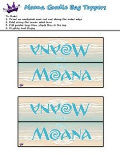 Moana Printable Goodie Bag Labels by SKGaleana   Free Moana Printable Crafts, Activities and Party Supplies