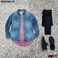 Contrast @benjamin.lam Shirt: The Narrows Clothing Denim Tee: Feathers Oil…