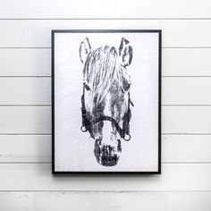 """The Framed """"Dolly"""" Horse Head was designed by a local artisan and is a great accent piece. It is a simple black and white print on wood that will look great in any space. Designed in Waco, Texas as a part of the Magnolia Home collection by Joanna Gaines. Farmhouse Wall Art, Urban Farmhouse, Farmhouse Style, Magnolia Market, Magnolia Homes, Magnolia Home Collection, Bedroom Pictures, Bedroom Ideas, Chip And Joanna Gaines"""
