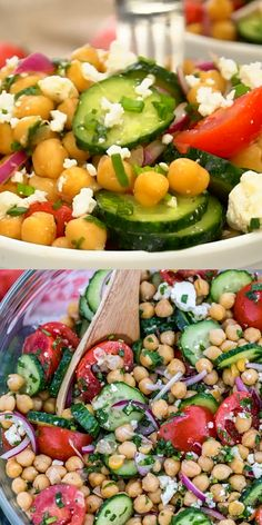 Chickpea Salad is a great recipe highlighting not only chickpeas, but also tomatoes, avocados, and cucumber. It is our favorite summer salad! recipes Chickpea Salad Recipe [video] - Sweet and Savory Meals Easy Summer Meals, Healthy Summer Recipes, Healthy Salad Recipes, Summer Salads, Light Summer Dinners, Top Healthy Foods, Savory Salads, Salad Recipes Video, Salad Recipes For Dinner